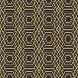 Abstract art deco modern tiles pattern03. Vector modern geometric tiles pattern. golden lined shape. Abstract art deco seamless luxury background Royalty Free Stock Image