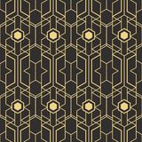 Abstract art deco seamless pattern 08. Vector modern geometric tiles pattern. golden lined shape. Abstract art deco seamless luxury background stock illustration