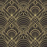 Abstract art deco seamless pattern 01. Vector modern geometric tiles pattern. golden lined shape. Abstract art deco seamless luxury background royalty free illustration