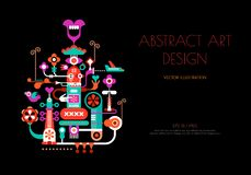 Abstract art design vector illustration. Abstract art design isolated on a black background. Vector poster design with abstract decorative composition and place royalty free illustration