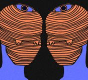 Abstract art -  the eyes - orange and blue royalty free illustration