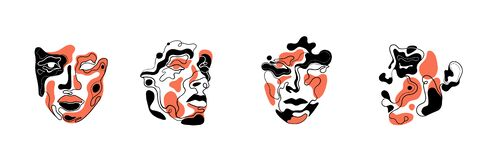 Free Abstract Art Faces For An Art Exhibition: Music, Literature Or Painting.Vector Illustrations Of Shapes, Portraits Of People.Contem Stock Photos - 210328953