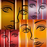 Abstract Art Female Faces. An abstract background illustration of human faces in black outlines with purple, brown, gold and pink colors Royalty Free Stock Photography