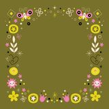Abstract art flowers nature retro frame border Royalty Free Stock Images