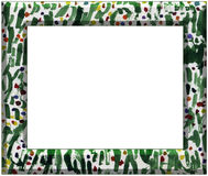 Abstract art frame. Frame made of simple watercolor kids drawing of grass and flowers Stock Photo