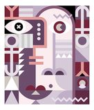 Abstract Art Geometric Portrait Stock Afbeelding