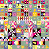 Abstract art hearts flowers cute pattern Stock Photography