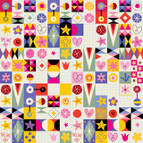 Abstract art hearts flowers retro pattern. Swatch design Royalty Free Stock Image