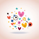 Abstract art illustration with cute cartoon hearts and dots Stock Photos