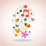 Abstract art illustration with cute characters. Retro style Royalty Free Stock Images