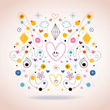 Abstract art illustration. With cute hearts Royalty Free Stock Photos