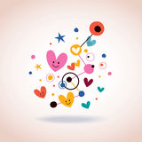 Abstract art illustration with cute hearts and dots Stock Photography