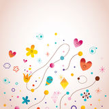 Abstract art illustration with cute little characters. Design elements Stock Image