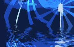 Abstract Art, Lighthouse and Ocean. With Beams of Light, Blurr Art vector illustration