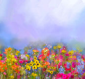 Abstract art oil painting of summer-spring flower. Meadow, landscape with wildflower. Abstract art oil painting of summer-spring flowers. Cornflower, daisy stock illustration