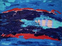 Abstract art painting with acrylic colors. Abstract art painting with fish Royalty Free Stock Photos