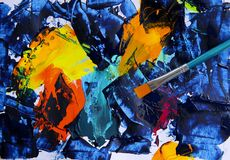 Abstract art painting with acrylic colors. Closeup background of brush and palette Stock Photography