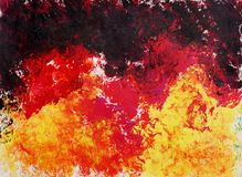 Abstract art painting. Raster background. Black, red,yellow Stock Photos