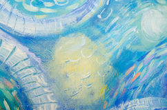 Abstract art painting. Underwater world. Abstract blue hand painted background Stock Photo