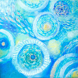 Abstract art painting. Underwater world. Abstract blue hand painted background Royalty Free Stock Photos