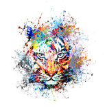 Abstract art picture with tiger. Abstract art picture in cubism style with tiger stock illustration