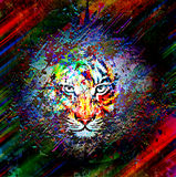 Abstract art picture with tiger. Abstract art picture in cubism style with tiger royalty free illustration