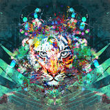 Abstract art picture with tiger. Abstract art picture in cubism style with tiger vector illustration