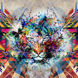 Abstract art picture with tiger. The king of animals abstract illustration stock illustration
