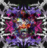 Abstract art picture with tiger. The king of animals abstract illustration vector illustration
