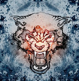 Abstract art picture with wolf. Abstract art picture in cubism style with wolf stock illustration