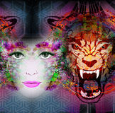 Abstract art picture with woman Stock Images