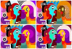 Abstract art portrait of three people. Four options of the abstract art portrait of three people vector illustration vector illustration