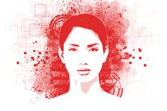 Abstract art portrait of young woman. With Stencils posterize print effect stock illustration