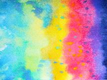 Abstract art rainbow color colorful watercolor painting background. Hand drawing royalty free illustration
