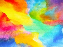 Abstract art rainbow colorful watercolor painting background. Hand drawing royalty free illustration