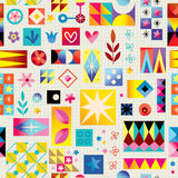 Abstract art retro style seamless pattern. With note book paper Stock Photography