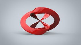 Abstract art sculpture - red porcelain. In studio stock illustration