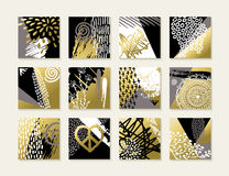 Abstract art set of gold card illustration designs. Set of abstract boho art style card designs in gold color with hand drawn illustrations and grunge decoration Stock Image