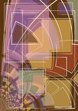 Abstract Art Shapes Lines. An abstract texture pattern background with brown, tan, purple, red and green colors and white outlines in a variety of warped squares Stock Images