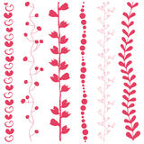 Abstract art six different floral stripes. (Vector EPS10 Royalty Free Illustration