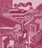 Pink background. Abastract art with a lot of forms. royalty free illustration