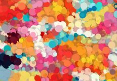 Abstract art texture. Colorful round discs. Colorful texture. Modern artwork. Digital render. Image shows various colorful discs in different sizes. Image have Royalty Free Stock Image