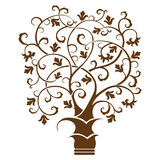 Abstract art tree, black on white background. Vector illustration Stock Images