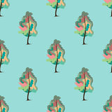 Abstract art tree seamless pattern. Vector illustration Stock Images