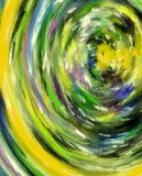 Abstract Art Tunnel. Tunnel of smudged colors disappears into a shrinking vortex.  Smears of yellow, green, purple and black form the walls of this abstract Royalty Free Stock Photo