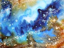 Abstract art universe watercolor painting illustration design. Background hand drawn Stock Photo
