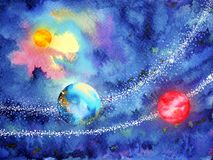 Abstract art universe watercolor painting illustration design. Background hand drawn vector illustration
