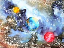 Abstract art universe watercolor painting illustration design. Background hand drawn royalty free illustration