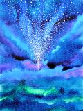 Abstract art universe watercolor painting illustration design. Background hand drawn Stock Photography