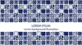 Hand drawn blue patterned squares. royalty free illustration